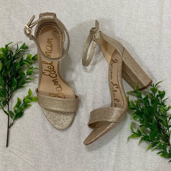 56ac749fdcf4d8 Sam Edelman gold glitter heeled sandals. M 5c4b735cc2e9fe78807340bd
